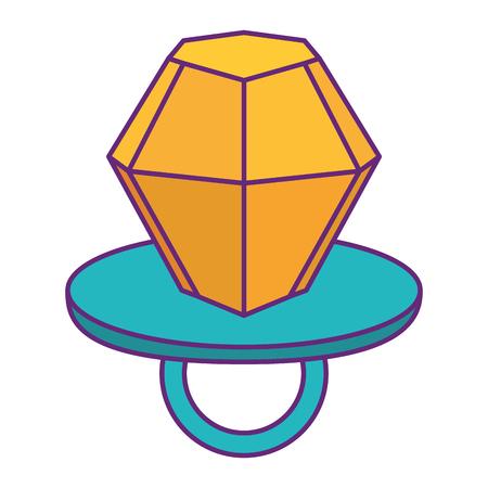 Diamond ring pin cartoon isolated on white vector illustration