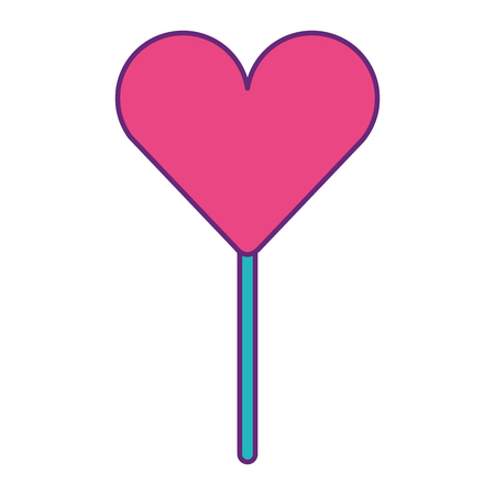 Heart-shaped lollipop, sweet dessert vector illustration