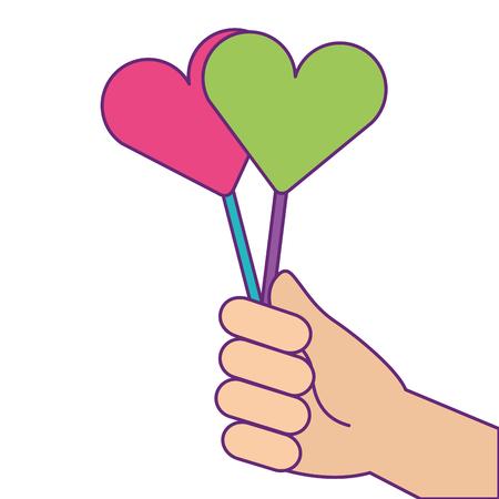 Mão segurando pirulito doce ilustração vetorial de doces Foto de archivo - 93616223