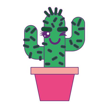 cartoon potted cactus kawaii character vector illustration Stok Fotoğraf - 93541598