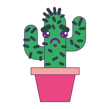 cartoon potted cactus kawaii character vector illustration