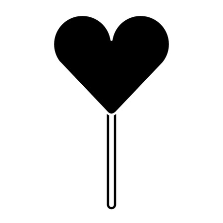 heart shape lollipop sweet dessert vector illustration pictogram design