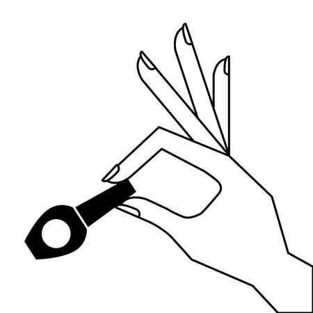 hand holding nail polish fashion icon vector illustration pictogram design