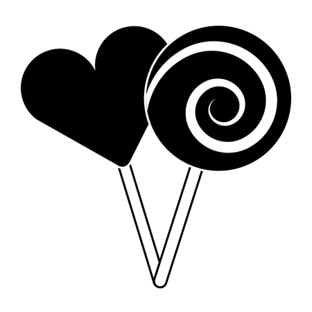 two round lollipop and heart shape candy vector illustration pictogram design