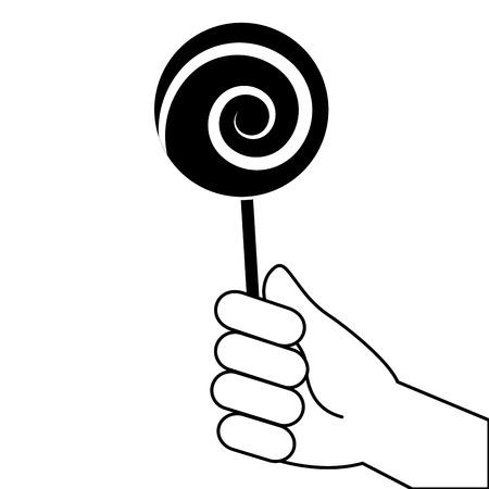 Mão segurando pirulito doce vector ilustração design de pictograma Foto de archivo - 93544005