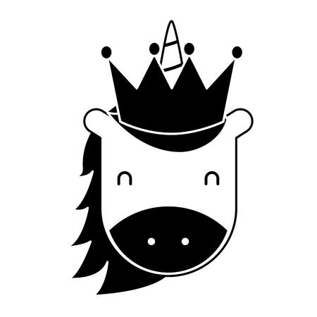 unicorn with crown horned animal fantasy magic vector illustration pictogram design