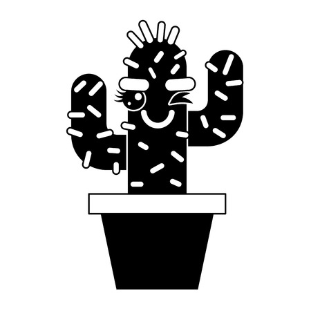 cartoon potted cactus character vector illustration pictogram design