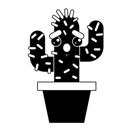 cartoon potted cactus  character vector illustration pictogram design Çizim