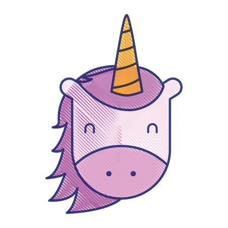 unicorn horned animal fantasy magic vector illustration draw design Illustration