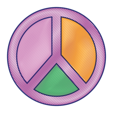 peace and love symbol pastel color patch vector illustration draw design