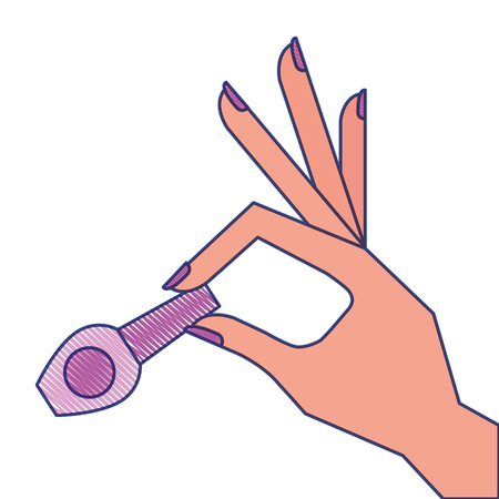 hand holding nail polish fashion icon vector illustration draw design