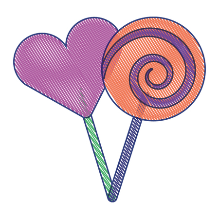 two round lollipop and heart shape candy vector illustration draw design