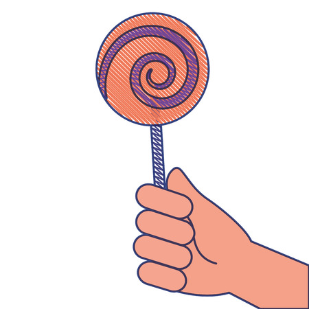 hand holding lollipop sweet candy vector illustration draw design Illustration