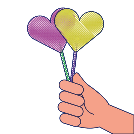 hand holding lollipop sweet candy vector illustration draw design Stok Fotoğraf - 93611723