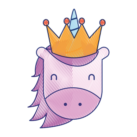 unicorn with crown horned animal fantasy magic vector illustration draw design