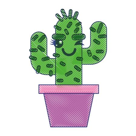 cartoon potted cactus kawaii character vector illustration draw design