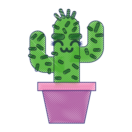 cartoon potted cactus character vector illustration draw design
