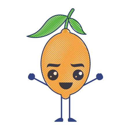 citrus lemon kawaii cartoon fruit vector illustration draw design Ilustração