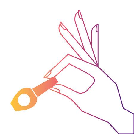 hand holding nail polish fashion icon vector illustration