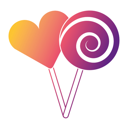 Two round lollipop and heart shape candy vector illustration. Çizim