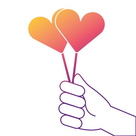 Hand holding lollipop sweet candy vector illustration Illustration