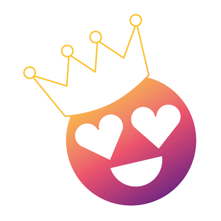 Smile emoticon hearts shape eyes with crown vector illustration