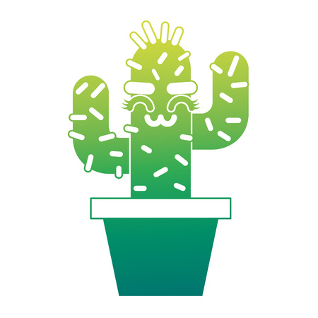 cartoon potted cactus kawaii character vector illustration green design Illustration
