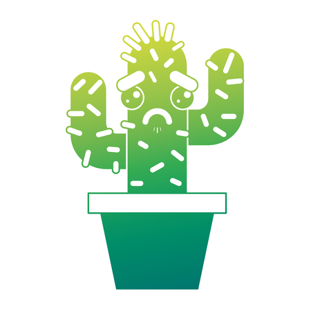 cartoon potted cactus kawaii character vector illustration green design Stok Fotoğraf - 93547549