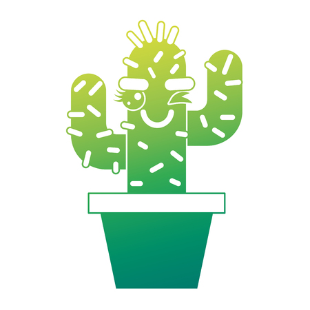 cartoon potted cactus character vector illustration green design