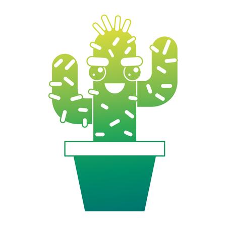 cartoon potted cactus kawaii character vector illustration green design Çizim