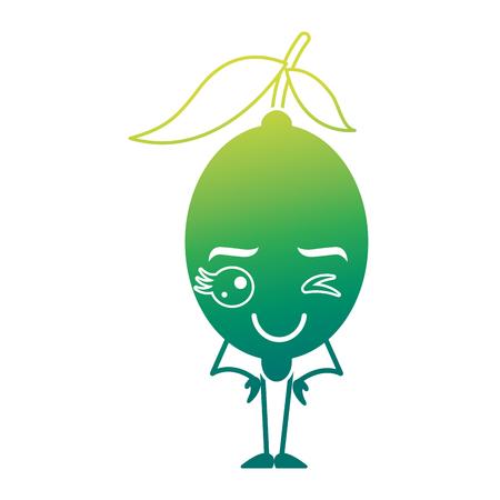 citrus lemon cartoon fruit vector illustration green design