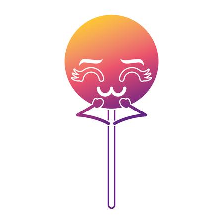 cartoon round lollipop swirl kawaii character vector illustration