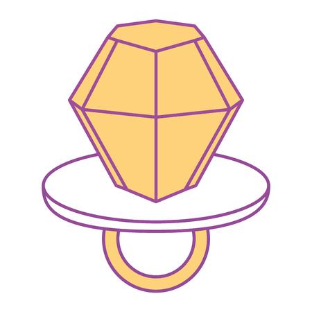 diamond ring pin cartoon isolated on white vector illustration yellow design Illustration