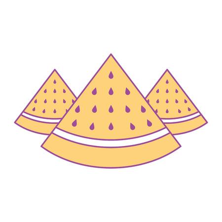 three slice watermelon fruit tropical vector illustration yellow design Stock Vector - 93548658