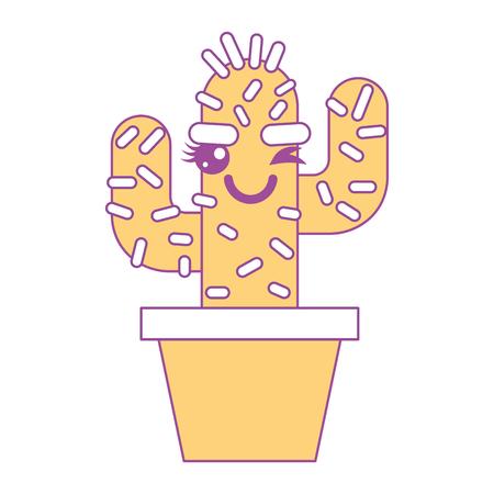 cartoon potted cactus kawaii character vector illustration yellow design Stok Fotoğraf - 93611934