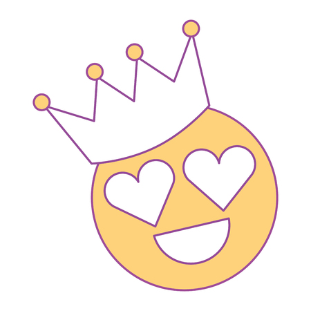 smile emoticon hearts shape eyes with crown vector illustration yellow design