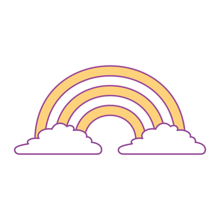 cute rainbow cloud magic fantasy image vector illustration yellow design