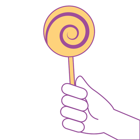 A hand holding lollipop sweet candy vector illustration yellow design