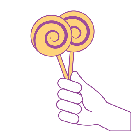 hand holding lollipop sweet candy vector illustration yellow design Illustration