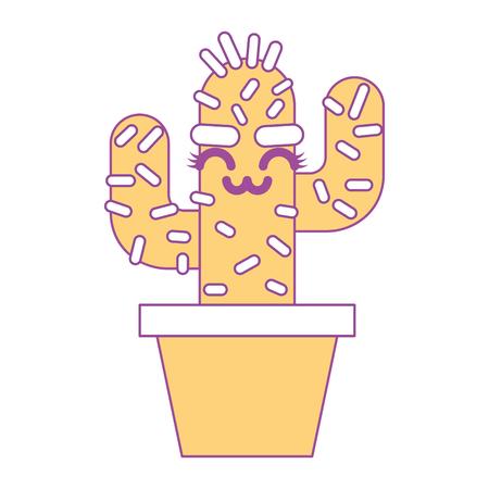 cartoon potted cactus kawaii character vector illustration yellow design Stok Fotoğraf - 93549223