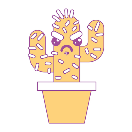 cartoon potted cactus kawaii character vector illustration yellow design Çizim