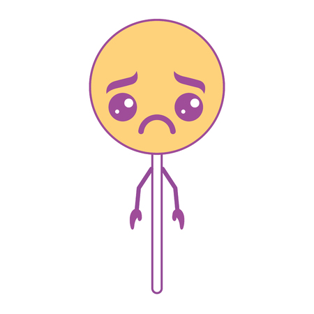 cartoon round lollipop swirl kawaii character vector illustration yellow design
