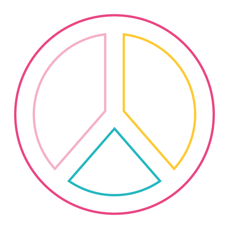 peace and love symbol emblem icon vector illustration color line design