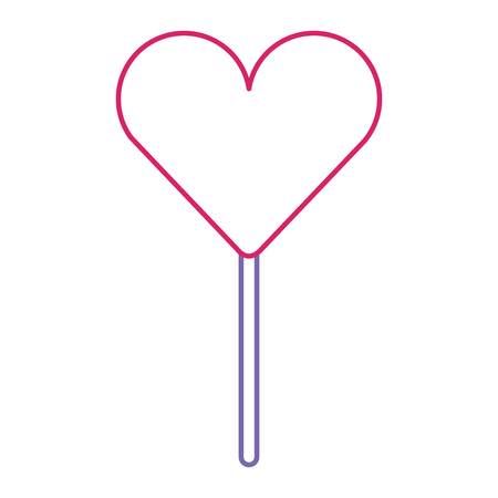 heart shape lollipop sweet dessert vector illustration color line design