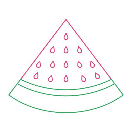 slice watermelon fruit fresh icon vector illustration color line design Illustration