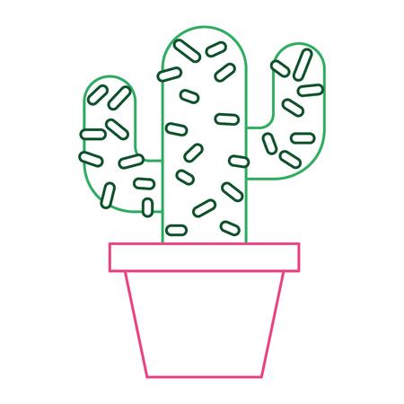 鉢植えサボテンナチュラルデコレーションオーナメントベクトルイラストカラーラインデザイン