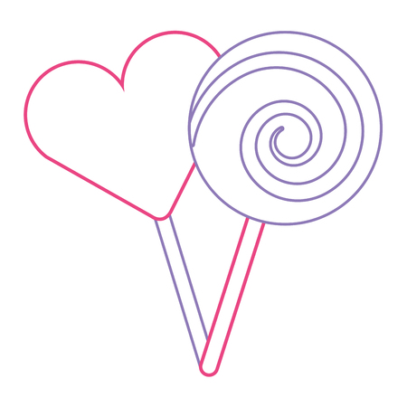 two round lollipop and heart shape candy vector illustration red and purple line