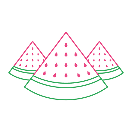 Three slice watermelon fruit tropical vector illustration green and red line Illustration
