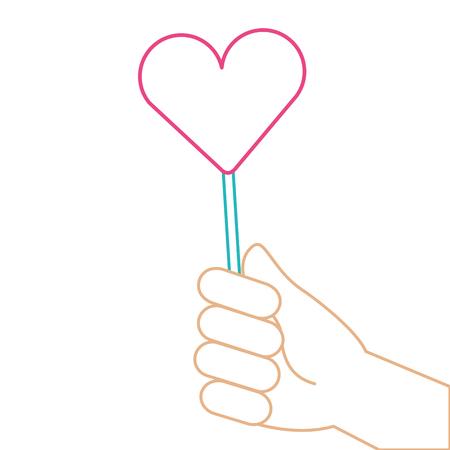 A hand holding lollipop sweet candy vector illustration color line Illustration