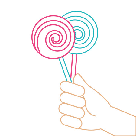 Hand holding lollipop sweet candy vector illustration color line.